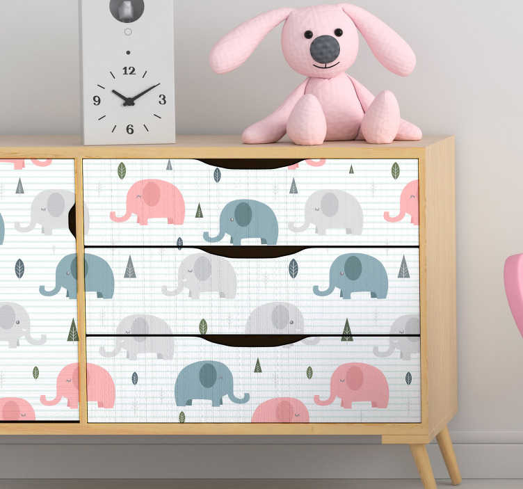 TenStickers. Infant elephants furniture decal. Decorative furniture sticker for kids with the design of elephant print  to wrap the surface of cabinets, tables, wardrobe and tables in bedroom.