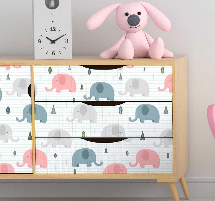 TenStickers. Naklejka na meble Małe słonie. Pragniesz odświeżyć pokój dziecięcy? Zastosuj niezwykłe naklejki ścienne dziecięce ze słoniami białym tle. Codziennie nowe projekty!