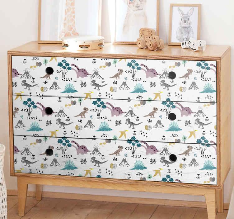 TenStickers. Meubelstickers baby dinosaurussen patroon. Leuke meubelstickers baby dinosaurussen patroon voor in de kinderkamer. Geniet van deze dieren meubel stickers en andere meubel decoratie designs.