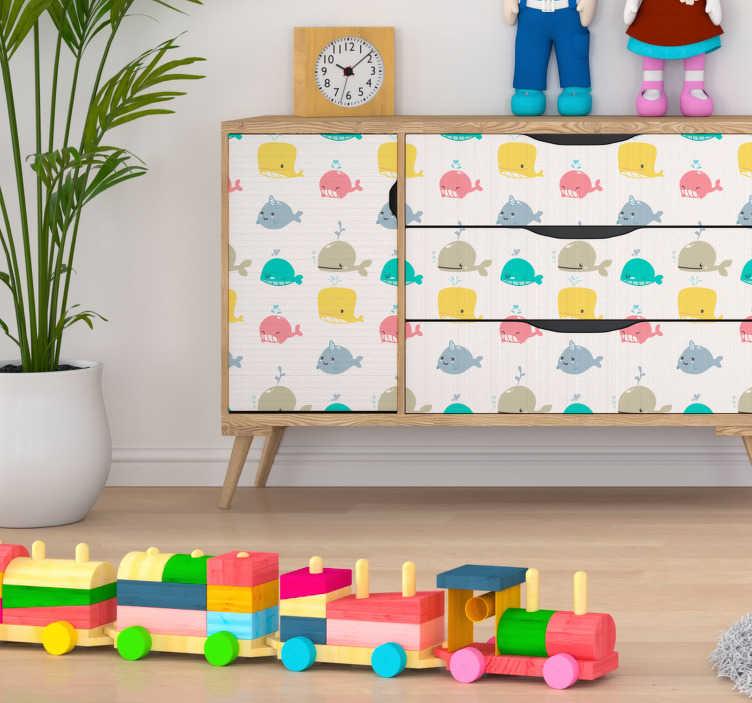 TENSTICKERS. 幼稚な海底パターンの家具デカール. 子供のベッドルームのキャビネットとワードローブを美しくする魚のデザインの装飾的な海底パターンの家具ステッカー。簡単に適用でき、あらゆるサイズで利用できます。
