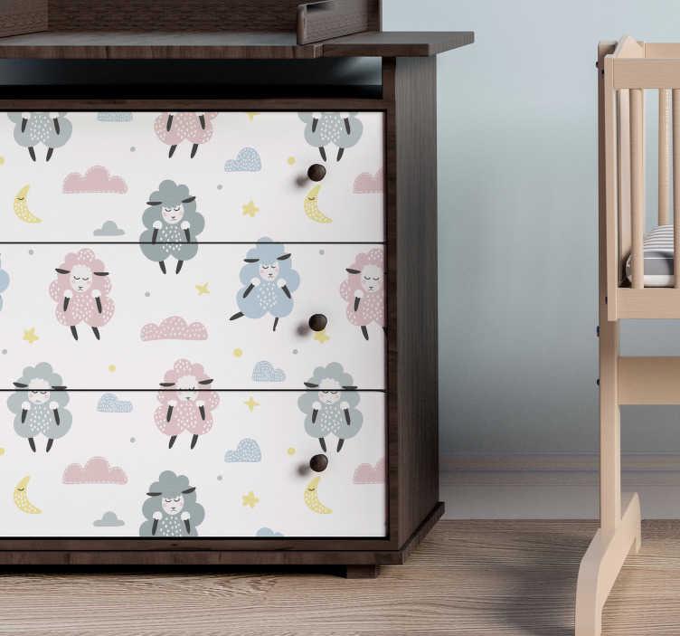 TenStickers. Meubelstickers patroon schaapjes. Met deze patroon sticker van verschillende schaapjes kan je de meubels van jouw kinderkamer op een leuke manier versieren.