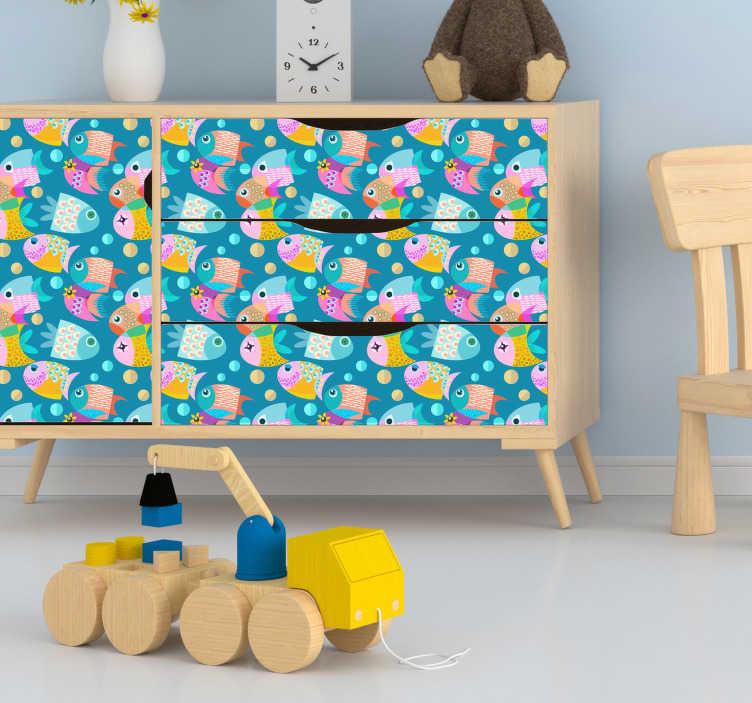 TenStickers. Muurstickers kinderkamer patroon visjes. Deze patroon sticker van verschillende kleurrijke visjes is de ideale manier om verschillende meubulair in jouw kinderkamer mee te versieren.