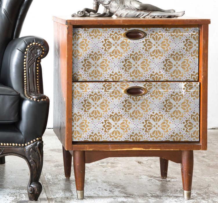 TenStickers. Meubelstickers gouden mandala patroon. Leukegouden mandala patroon meubelstickers voor in de slaapkamer! Meubelsticker mandala zoals meubelstickers, kast sticker of kast lade stickers.