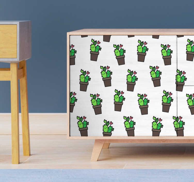TenStickers. Película autocolante para móveis de padrão de cactos. Autocolante decorativo para móveis com um padrão de cactos perfeito para os móveis do quarto, sala ou cozinha.