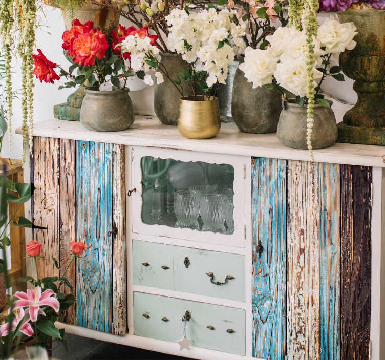 TenStickers. Muurstickers slaapkamer blauw geschilderd hout. Interessante houten tafelblad stickers en houten kast stickers: Op maat gemaakte meubelsticker hout patroon voor woonkamers en slaapkamers!