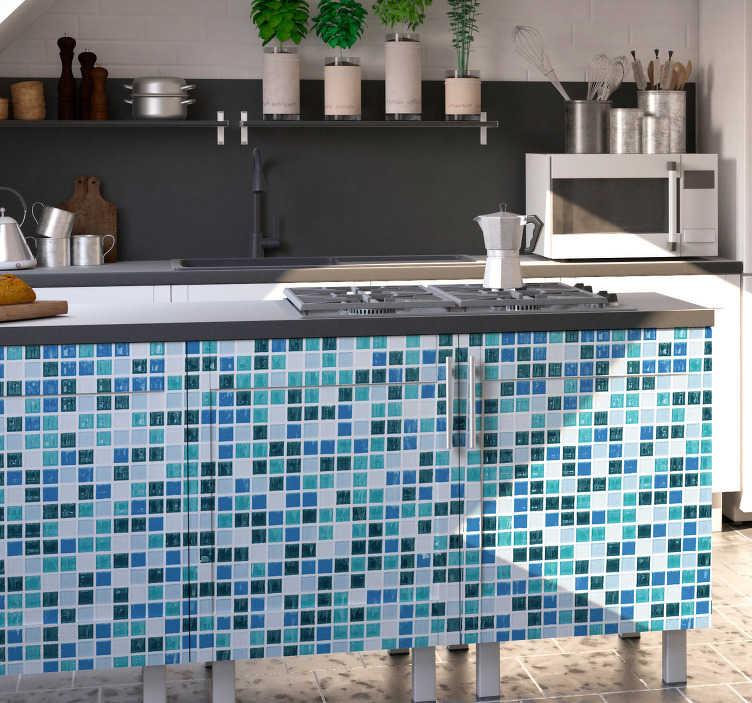 TenStickers. 파란색 모자이크 비닐 벽지. 귀하의 부엌이나 욕실을위한 완벽한 가구 비닐은 여러 가지 파란색 색상으로 만들어진 모자이크를 대표하는 가정 장식 데칼 것입니다!