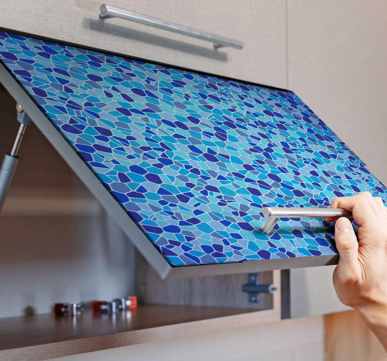 TenStickers. Meubelstickers blauw mozaïek patroon. Leuke meubelsticker blauw mozaïek patroon voor de keuken.Keuken kastdeur sticker voor keukenkasten decoratie. Bekijkal keukenkast stickers.