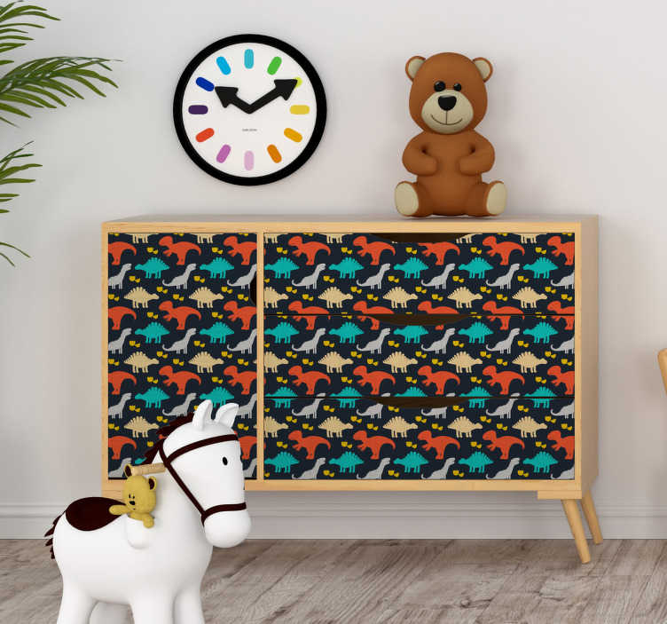 TenStickers. Childish dinosaurs pattern furniture decal. Decorate kids space in their favorite and admirable  dinosaur patterned furniture sticker for wardrobes, tables and cabinets.