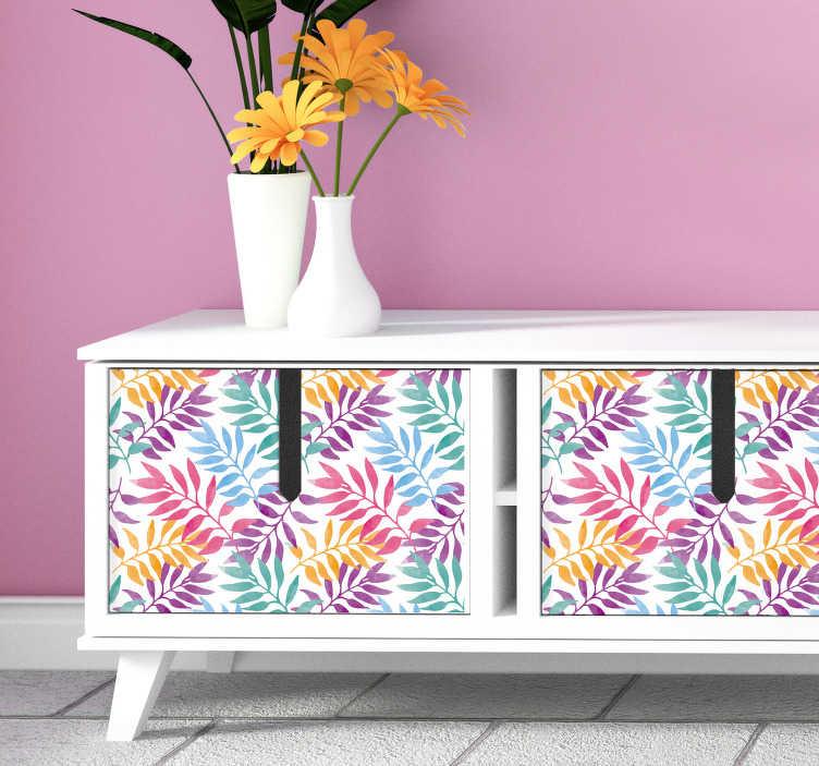 TenStickers. Sticker Meuble Feuilles Multicolores. Vous voulez une atmosphère estivale et chaleureuse, à coller sur vos meubles ? Rien de tel que ce sticker pour meuble de feuilles colorées !