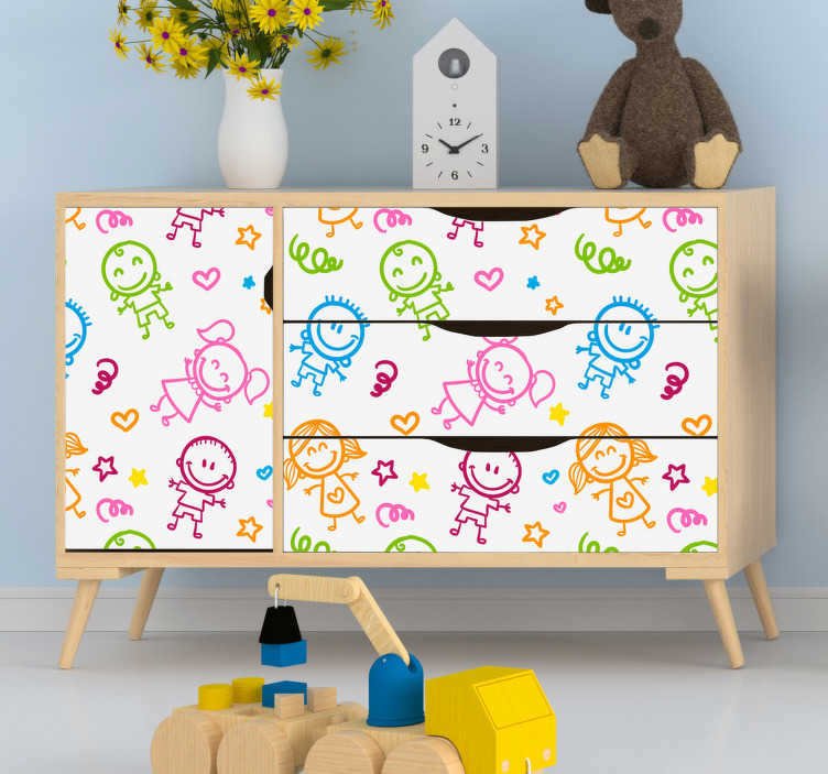 TenStickers. Sticker Meuble Dessins d'enfants. Pour donner le sourire à vos enfants et égayer leur espace personnel, rien de tel que ce sticker pour meuble de dessins de bonhommes colorés !
