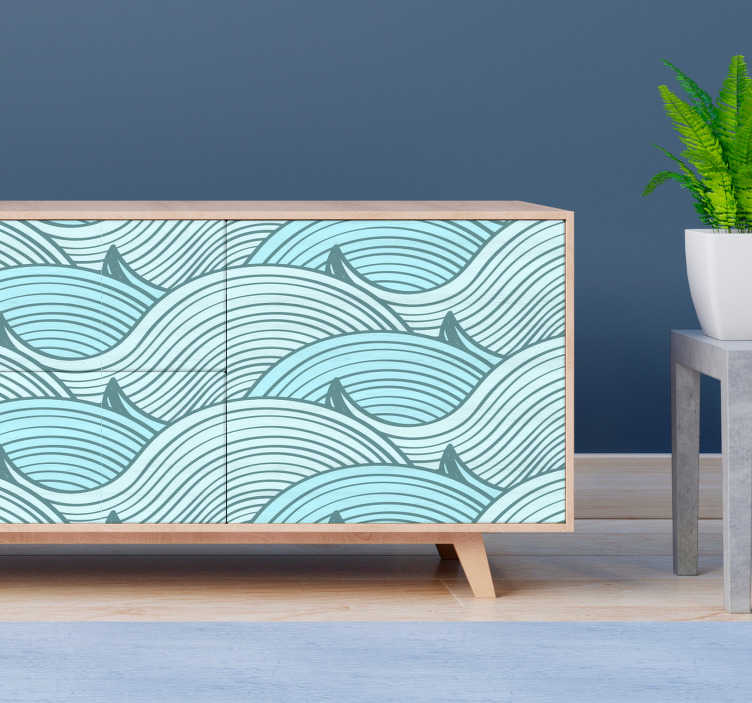 TenStickers. Waves pattern furniture decal. Decorative wave pattern furniture sticker for all home furniture surface. Available in nay desired size. Easy to apply and adhesive.