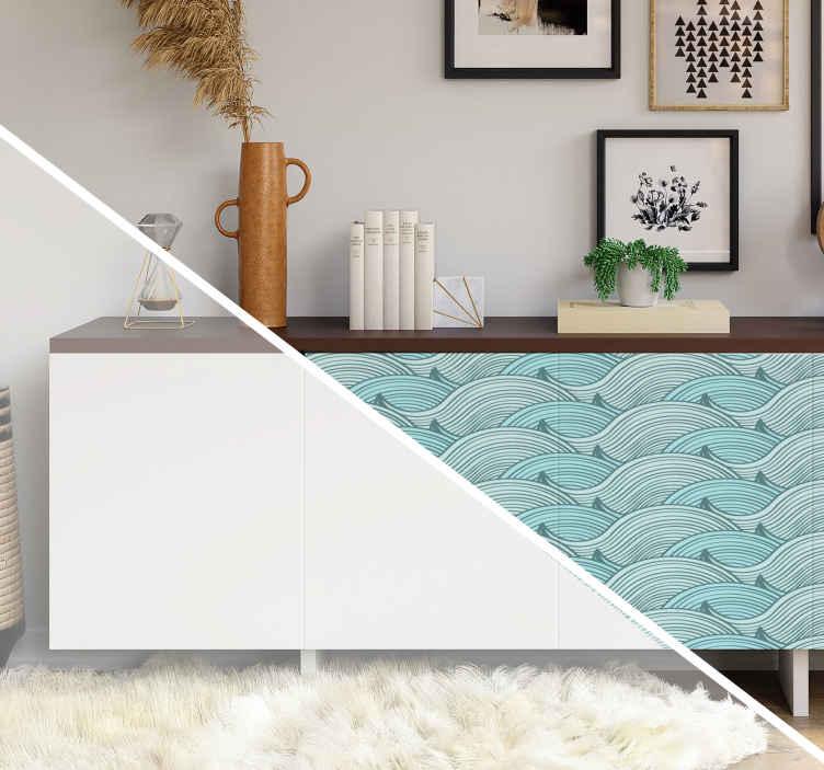 TenStickers. Meubelstickers zee golven. Leuke zee ladekast sticker. Zee Kast lades stickers als woonkamer oceaan meubel stickers. Zee kast stickers zijn super fasionabl als meubels decoratie