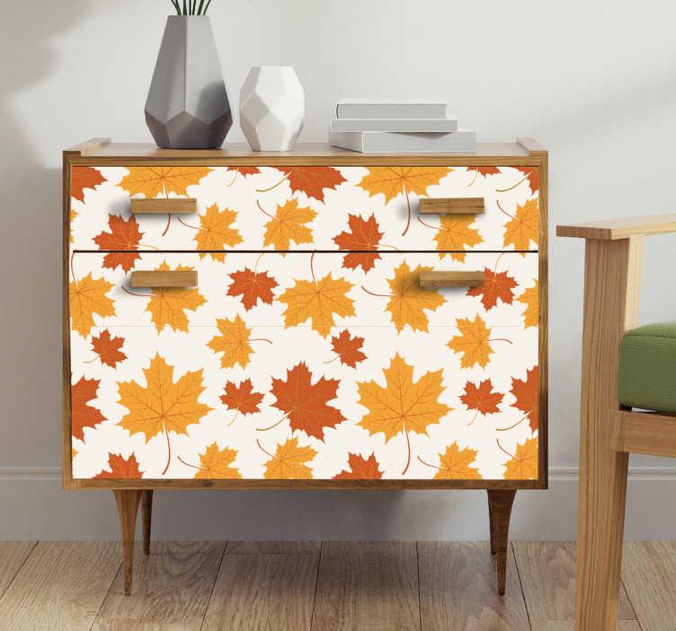 TenStickers. 가을 잎 비닐 벽지. 이 가구 스티커는 가을 시즌의 모든 애인을 기쁘게 해 줄 것입니다 : 거실이나 침실을 위해 만든 아름다운 나뭇잎.