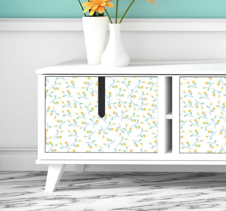 TenStickers. 黄色的花朵客厅墙壁装饰. 随着春天的到来,请不要犹豫,用这些美丽的黄色花朵装饰您的家具,非常适合您的客厅或卧室。