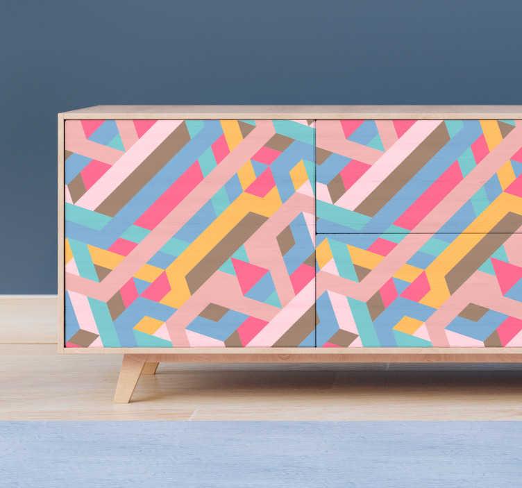 TenVinilo. Vinilo para mueble patrón retro abstracto. Original pegatina adhesiva para renovar muebles formada por líneas diagonales en varios colores. +10.000 Opiniones satisfactorias.