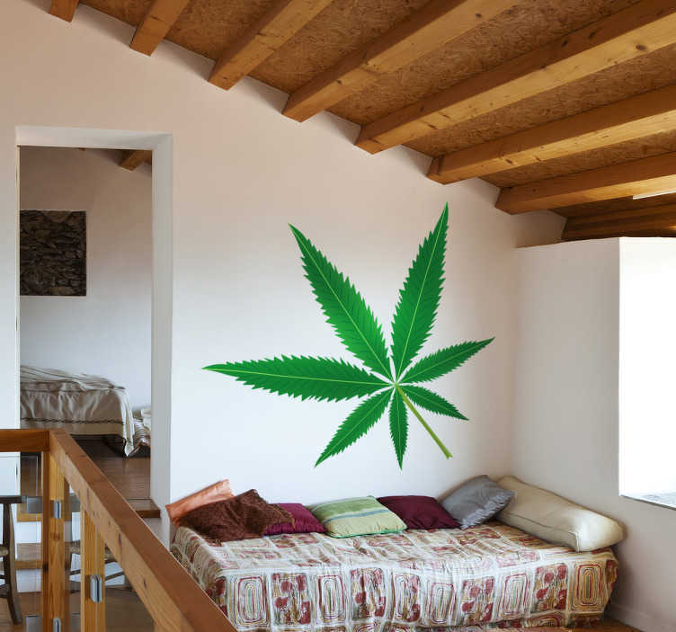 TenStickers. Vinil decorativo folha canábis. Vinil decorativo com uma ilustração de uma folha de canábis, também conhecida como marijuana. Adesivo de parede para decoração de interiores.