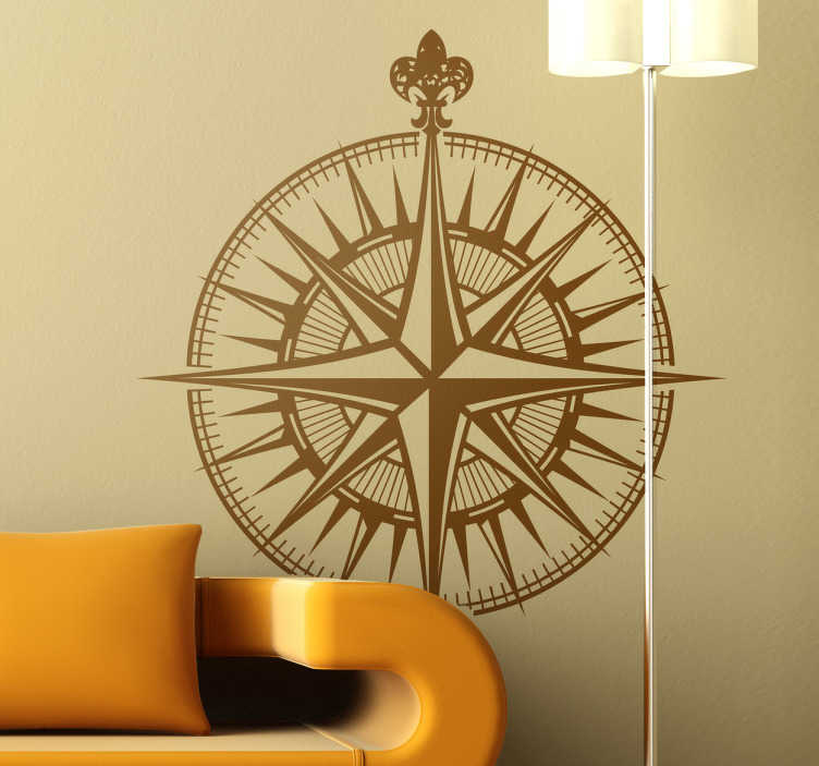 TenStickers. Compass Wall Sticker. An illustration of a compass from our collection of nautical wall stickers to give your home a touch of originality.