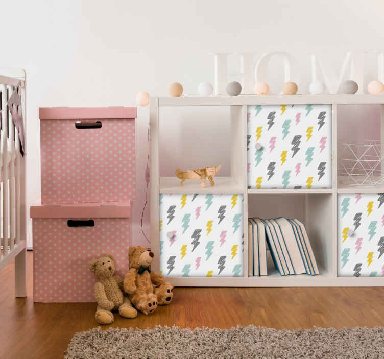 TenStickers. Storm Patterns wall stickers for kid. To decorate your kids bedroom, a kids bedroom sticker like these colourful storm patterns will fit perfectly their furnitures !