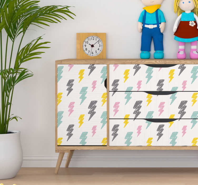 TenStickers. 风暴模式家具贴纸. 装饰你的孩子卧室,这些彩色风暴图案的儿童卧室贴纸将完美地适合他们的家具!