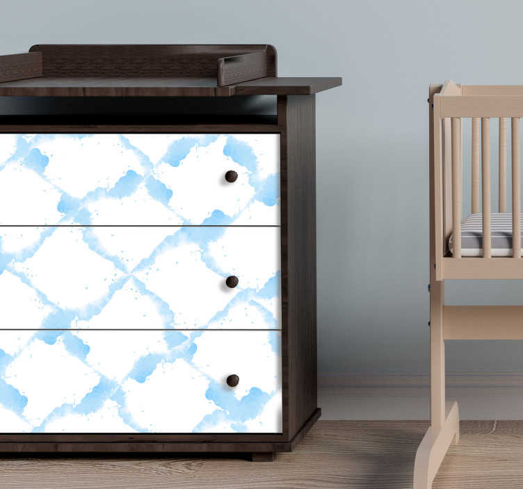 TenStickers. Pastel blue watercolor texture furniture sticker. Pastel blue watercolor furniture sticker to decorate any furniture in the home. Available in any required size. Easy to apply and adhesive.