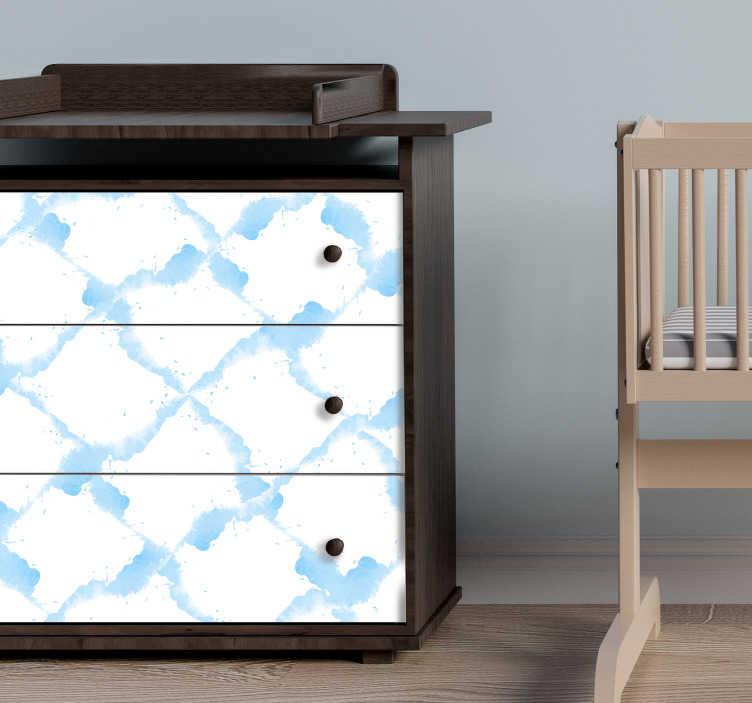TenStickers. Meubelstickers blauw wit patroon. Woonkamer meubels decoratie! Meubelstickers zoals kaststickers en tafelstickers met leuke patronen en interessante afbeeldingen in alle maten!