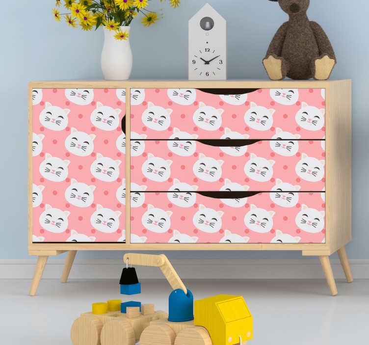 TenVinilo. Lámina adhesivas infantiles gatos divertidos. Vinilo infantil ideal para renovar los muebles formado por un patrón de gatos sobre un fondo con lunares de color rosa. +50 Colores Disponibles.