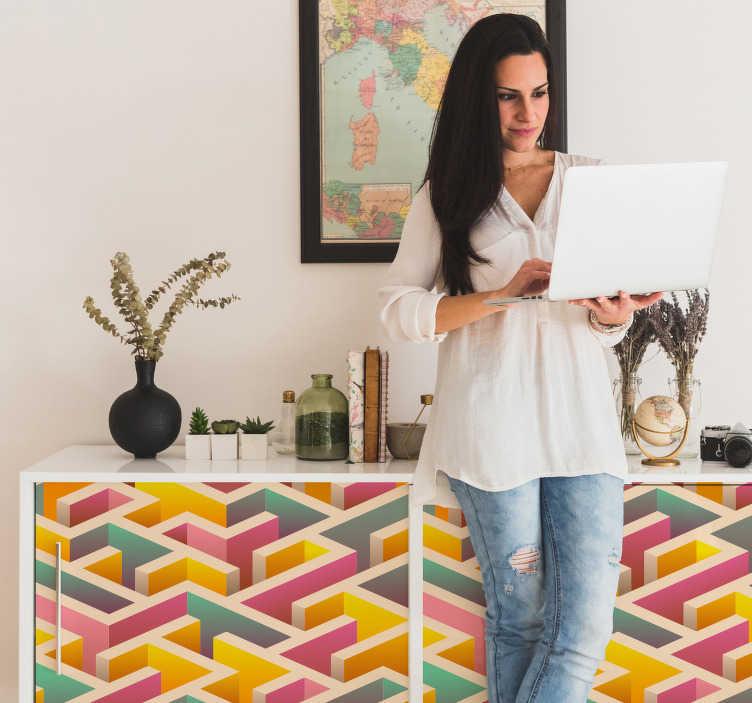 TenVinilo. Lámina adhesivas laberinto geométrico. Lámina adhesiva para renovar muebles formada por el diseño de un laberinto en colores azul turquesa, amarillo y rosa. +50 Colores Disponibles.