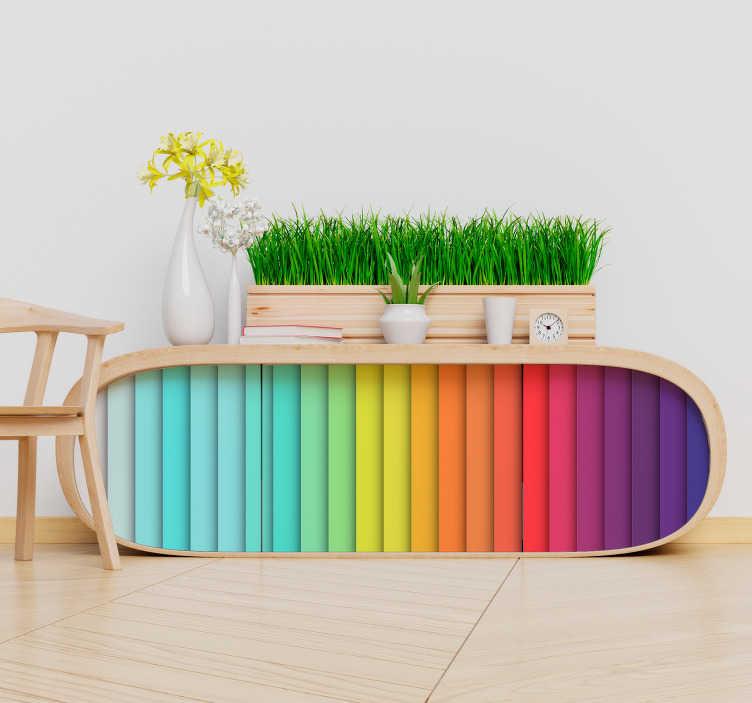 TenStickers. Sticker Meuble Lignes Arc-en-ciel. Pour donner à votre décoration les couleurs de l'arc-en-ciel, rien de mieux que ce sticker pour meuble multicolore ! Prix Imbattables.