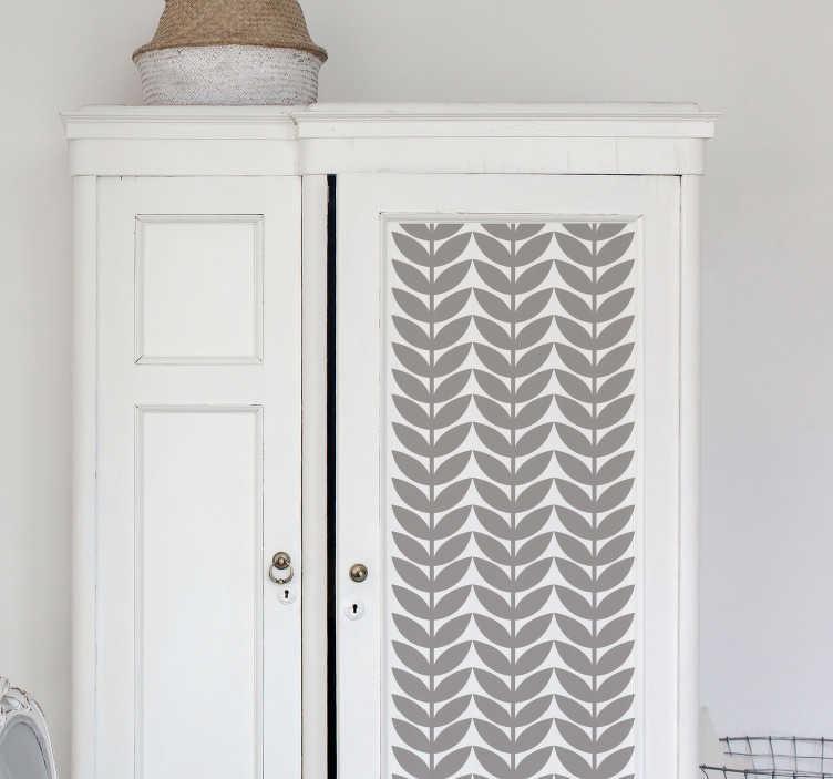 TenVinilo. Vinilo decorativo floral patrón hojas. Original lámina autoadhesiva para renovar muebles, formada por un patrón de líneas vertical de hojas. Promociones Exclusivas vía e-mail.