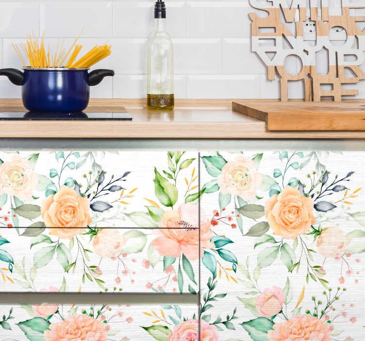 TenStickers. Meubelstickers pastel roze patroon keukenlade. Unieke keuken meubelsticker, leuke keuken meubeldecoratie. Originele keuken meubelstickers: trendy keukenkast stickers en keukenlade stickers!