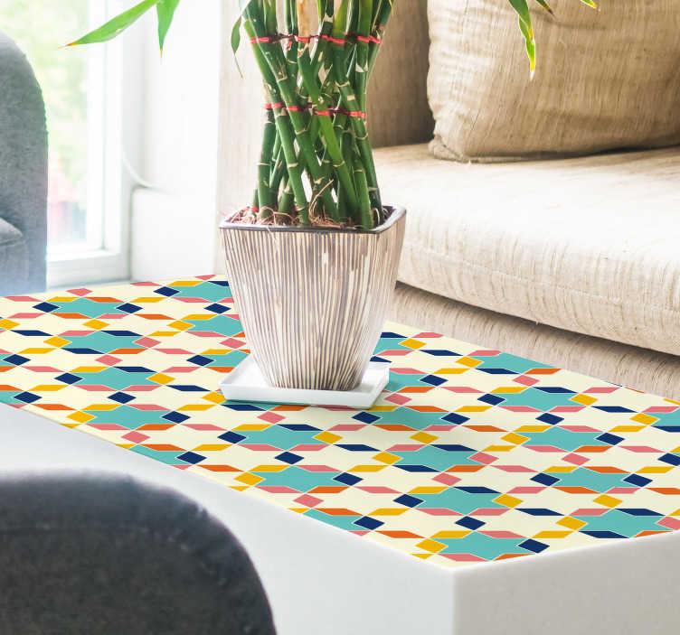 TenVinilo. Lámina adhesivas Teselación geométrica. Colorida lámina de vinilo autoadhesiva ideal para renovar muebles, formada por una teselación geométrica. Atención al Cliente Personalizada.