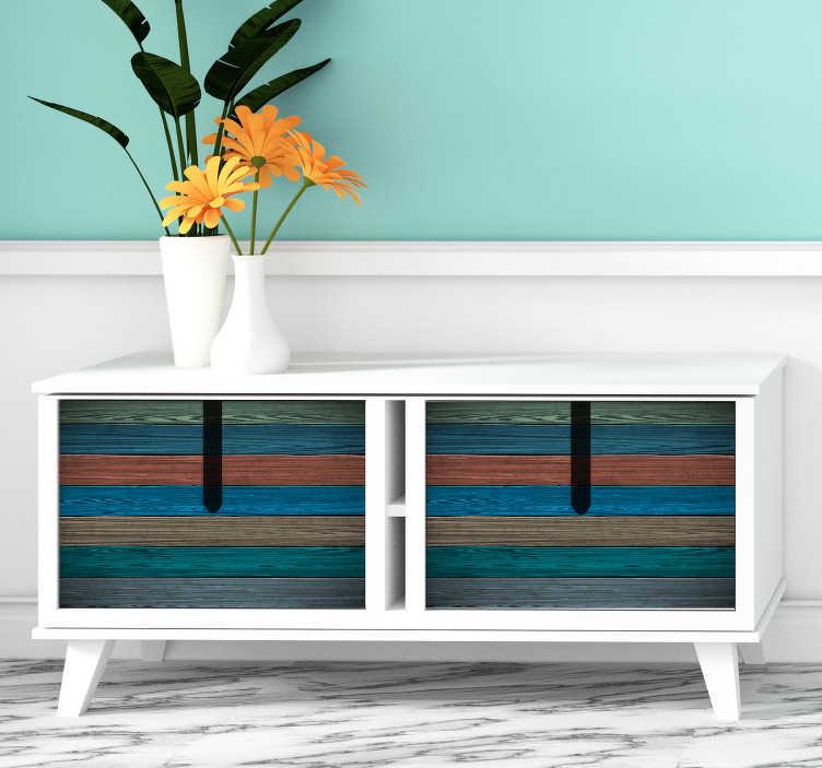 TenStickers. Sticker Meuble Simili Bois Peint. Plutôt que de repeindre vos meubles de différentes couleurs, pourquoi ne pas opter pour un sticker pour meuble de simili bois multicolore ?