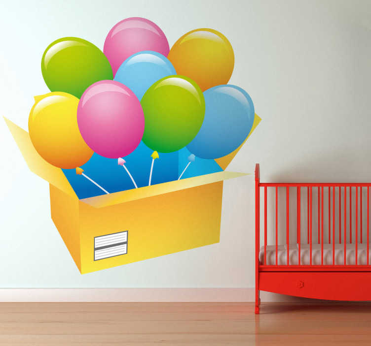 TenStickers. Box of Balloons Kids Sticker. Kids Stickers - Bright and vibrant design of a bunch of balloons springing out of a box.