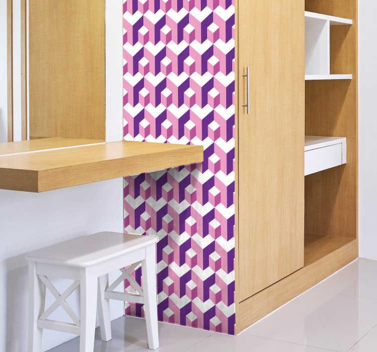 TenStickers. Sticker Meuble Trompe l'Oeil Hexagonal. Pour un sticker pour meuble au style géométrique unique, qui donnera une touche inédite à votre intérieur, cet autocollant géométrique sera idéal.