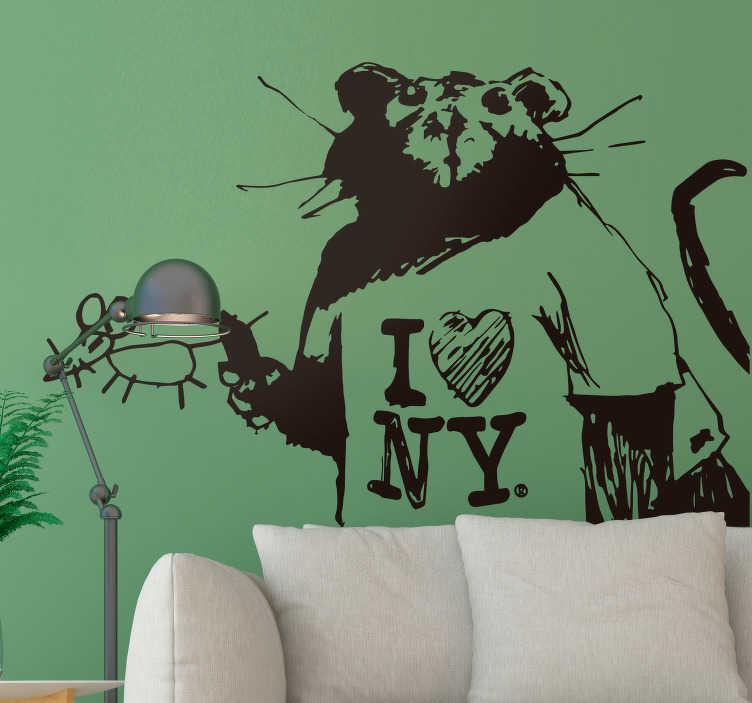 """TenVinilo. Vinilo original Banksy I Love NY. Vinilo adhesivo formado por la ilustración de la obra """"I Love New York Rat in SoHo"""" del artista británico Banksy. Precios imbatibles."""