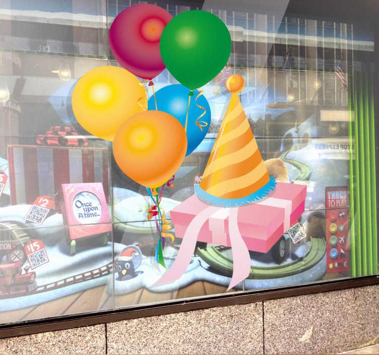 TenStickers. Naklejka dziecięca prezent urodzinowy. Naklejka dla dzieci przedstawiająca prezent urodzinowy i kolorowe baloniki. Ładna naklejka do dekoracji domu na czas urodzin.