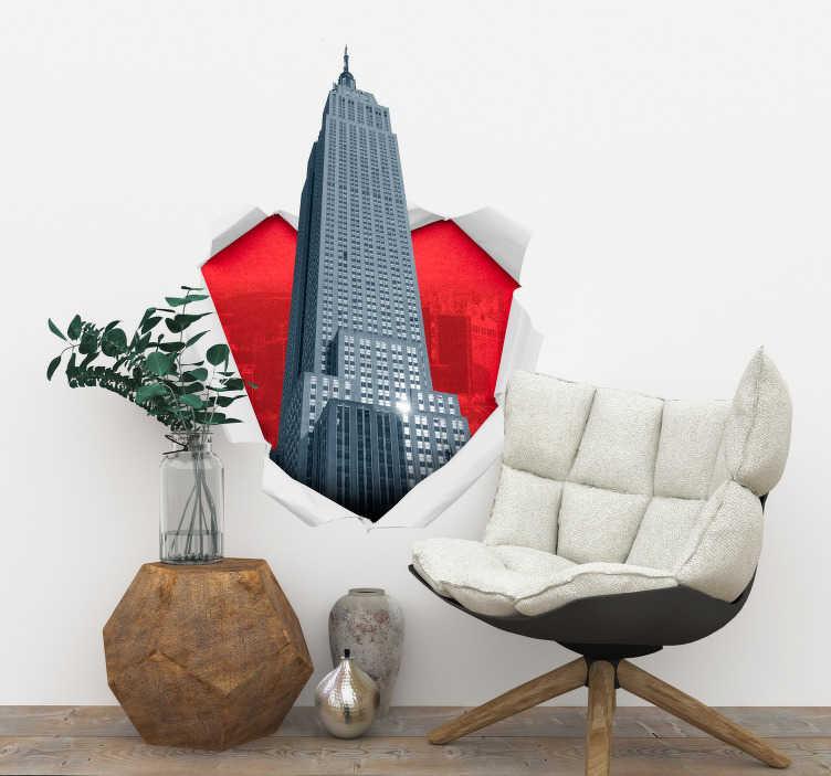 TenStickers. Fototapeta Empire State 3D. Poszukujesz ciekawej dekoracji do domu? Sprawdź ozdoby na ścianę do salonu w jako naklejki ścienne 3D Empire State Building inne naklejki 3D.