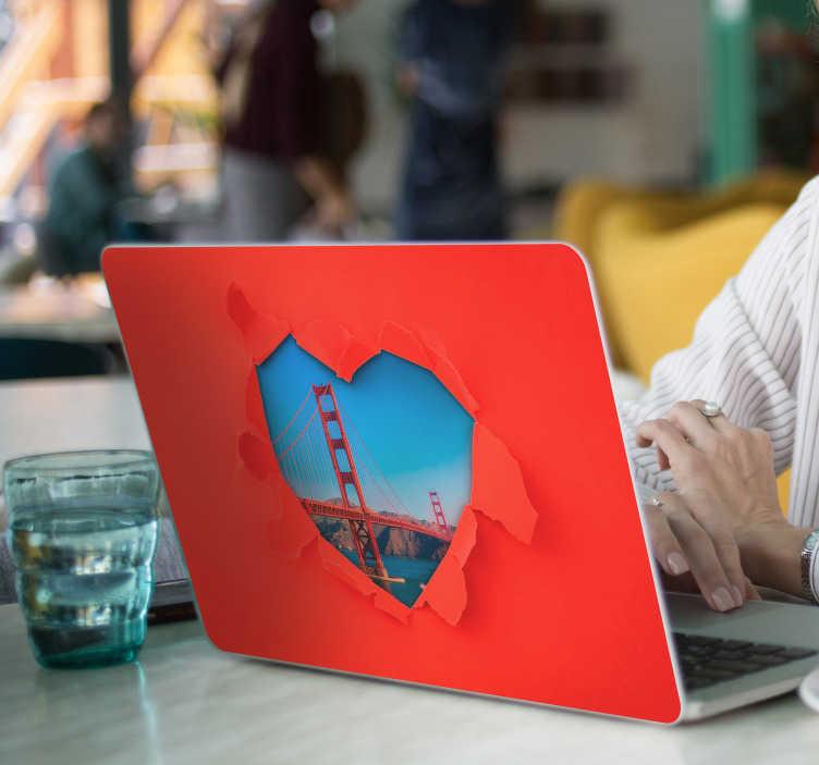 TenVinilo. Vinilo original Golden Gate Trampantojo. Pegatina adhesiva para portátil formada por un trampantojo del puente Golden Gate sobre un fondo de color rojo. Atención al Cliente Personalizada.