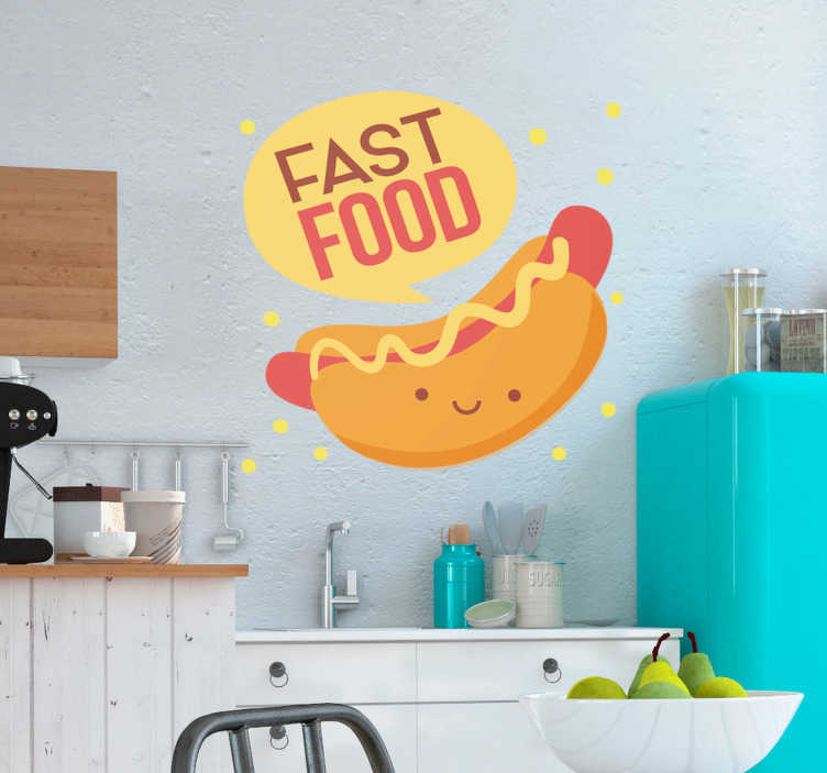 TenStickers. Hot Dogs Food Wall Sticker. Show your love for fast food with this absolutely delicious food sticker, depicting a gorgeous looking hot dog! Sign up for 10% off.