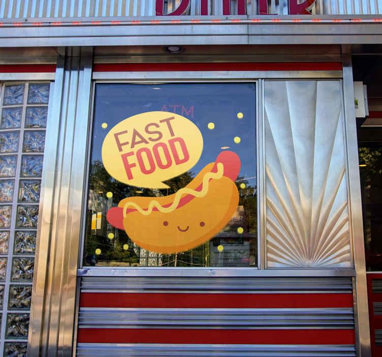 TenStickers. Sticker Entreprise Fast Food Hot Dog. Quoi de plus original et rigolo pour un sticker pour cuisine qu'un mignon petit hot dog au style bande dessinée ? Service Client Rapide.