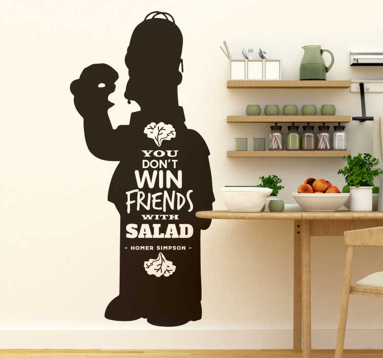 TenStickers. Simpsons Salad Quote Wall Sticker. Remind yourself of the benefits of eating as unhealthily as possible with this fantastic Simpson inspired cartoon wall sticker!