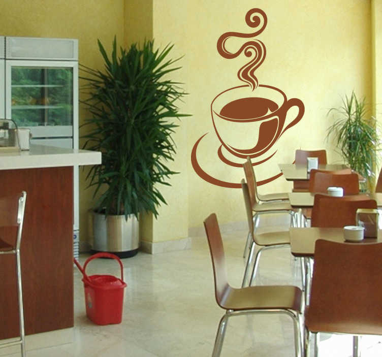 TenStickers. Sticker Kopje Koffie. Een leuke muursticker voor de decoratie van uw huis. Een mooie wandsticker van een dampend kopje koffie.