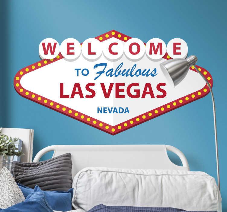 TenStickers. Sticker Maison Bienvenue Las Vegas. Et si vous emportiez un peu de la fantaisie de Las Vegas, paradis du jeu, dans votre décoration d'intérieur ? C'est possible grâce à ce sticker mural.