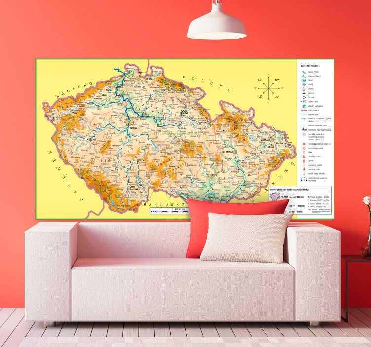 TenStickers. Mapa czechia mapa světa zeď nálepka. Mapa czechia nástěnná samolepka. Vzdejte hold své domovské zemi s touto fantastickou českou mapou obtisk, zobrazující zemi v celé své kráse!