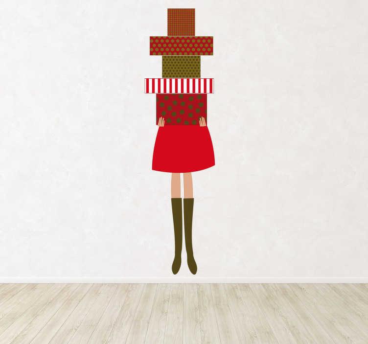 TenVinilo. Vinilo mujer con cajas regalo. Adhesivo decorativo de una chica llevando un montón de regalos. Adorna la pared de una manera muy original y llamativa.