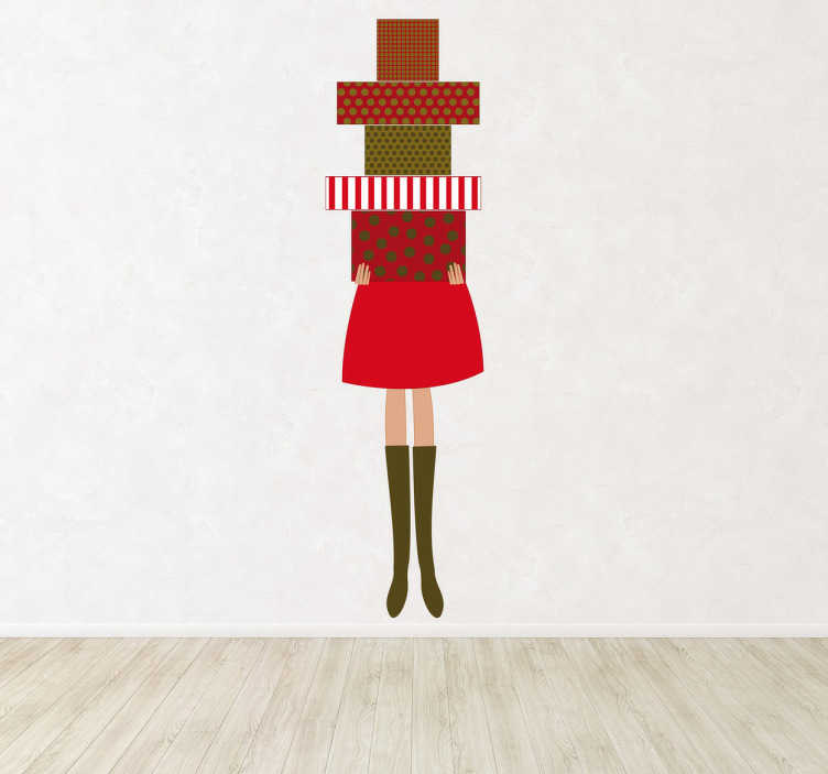 Vinilo mujer con cajas regalo