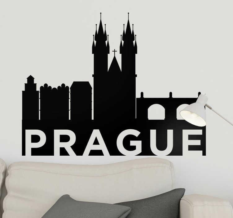 TenStickers. stickers skyline Silhouette Prague. Si vous avez envie de voyager à Prague depuis votre salon ou votre chambre, ce sticker mural monde de la silhouette de la ville vous ravira !
