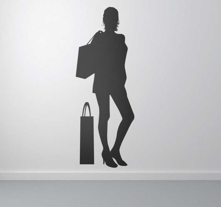 TenStickers. Lady Shopper Silhouette Wall Sticker. Business Stickers - Silhouette illustration of a young female with her shopping bags.