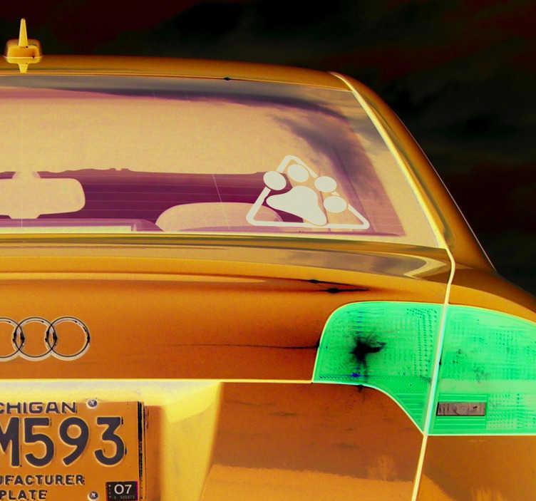 TenVinilo. Vinilo animal perro a bordo huella. Vinilo de coche de una señal de peligro y una huella de perro, un dibujo que informa que tu mascota viaja a bordo. Atención al Cliente Personalizada.