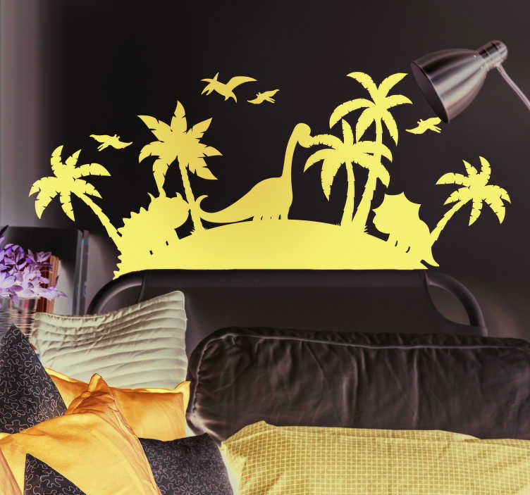 TenStickers. 侏罗纪parc动物墙贴纸. 如果你想要一个孩子的墙贴,让你的孩子穿越时间,我们有你需要的恐龙绘图墙装饰!